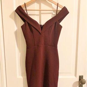 Lulu's Short Maroon Off The Shoulder Dress V Neck